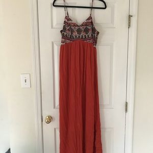 NWOT Embroidered Empire Waist Maxi Dress